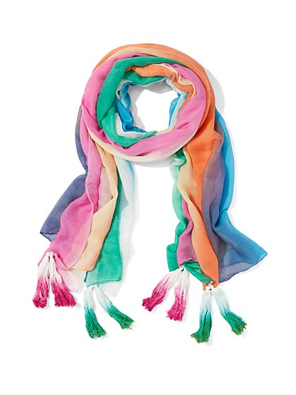 Rainbow-Stripe Scarf - New York & Company