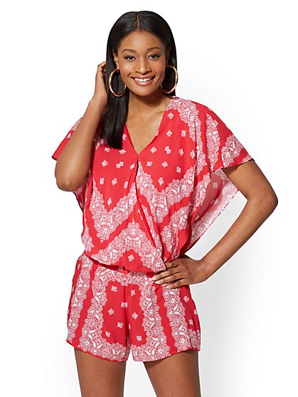 Red Bandanna-Print Flutter-Sleeve Blouse - New York & Company