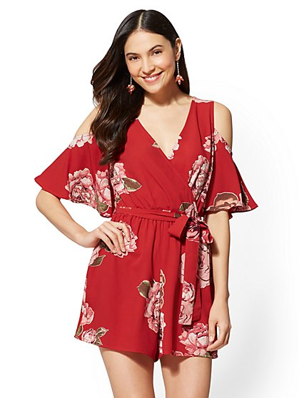 Red Floral Cold-Shoulder Romper - New York & Company