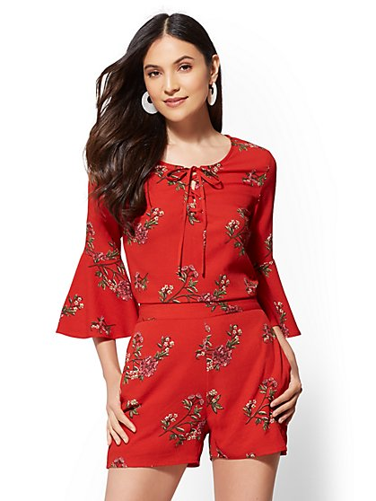 Red Floral Lace-Up Top - New York & Company