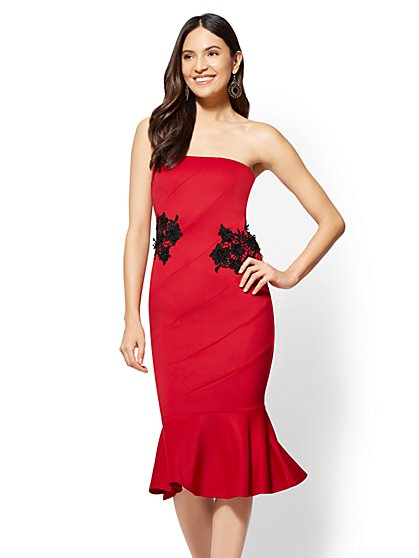 Red Lace-Accent Strapless Sheath Cocktail Dress