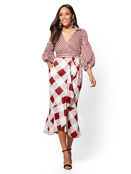 Red Plaid & Stripe Wrap Shirtdress - New York & Company