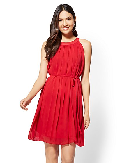Red Pleated Shift Dress - New York & Company