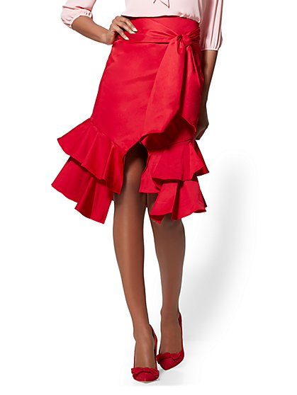 Red Poplin Wrap Skirt - New York & Company