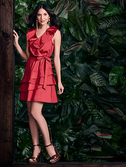 Red Ruffled V-Neck Flare Dress - New York & Company