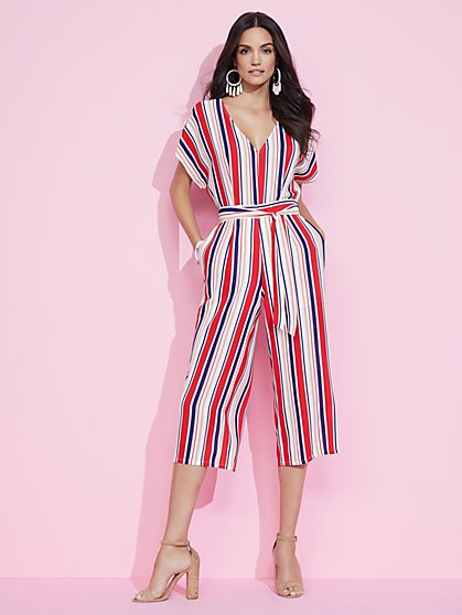 Red Stripe Culotte Jumpsuit - New York & Company