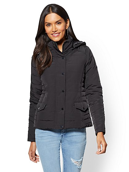 Removable Hooded Puffer Jacket - New York & Company