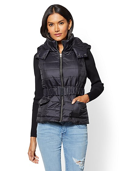Removable Hooded Puffer Vest - New York & Company