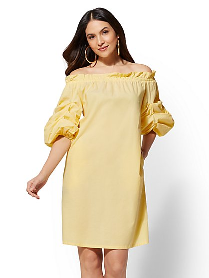 Ruched-Sleeve Off-The-Shoulder Shift Dress - New York & Company