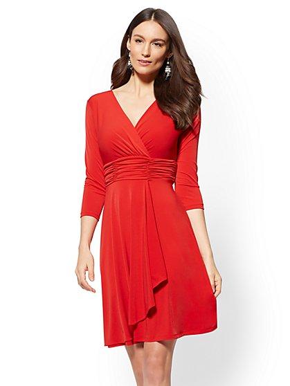 Ruched V-Neck Wrap Dress - New York & Company
