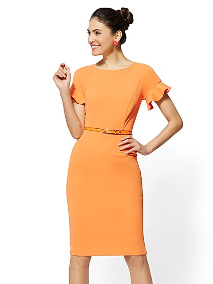 Ruffle-Sleeve Belted Sheath Dress - New York & Company