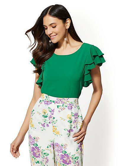 Ruffle-Sleeve Scoopneck Blouse - New York & Company
