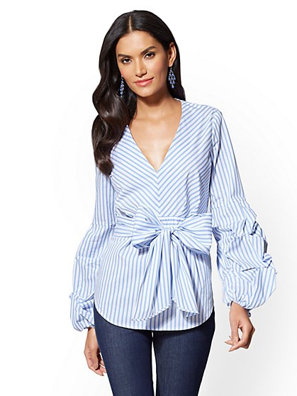 Ruffle-Sleeve Tunic Shirt -Stripe - New York & Company