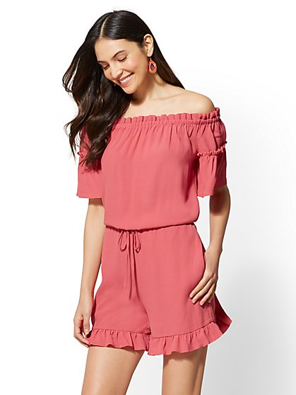 Ruffle-Trim Romper - New York & Company