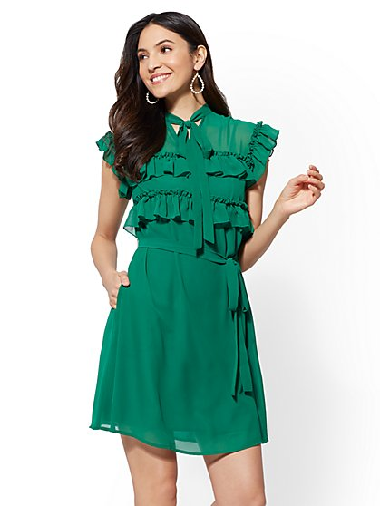 Ruffled Belted Shift Dress - New York & Company