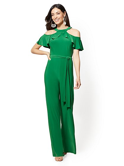 Ruffled Cold-Shoulder Jumpsuit - New York & Company