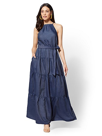 Ruffled Halter Maxi Dress - Dark Wash - New York & Company
