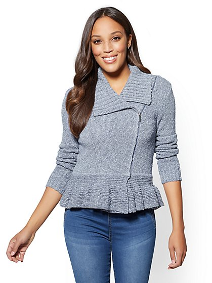 Ruffled Knit Moto Cardigan - New York & Company