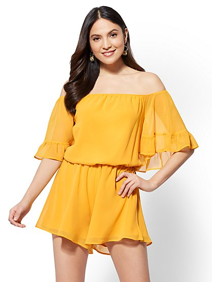Ruffled Off-The-Shoulder Romper - New York & Company