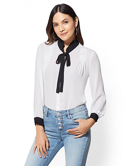 Ruffled Tie-Front Blouse - New York & Company