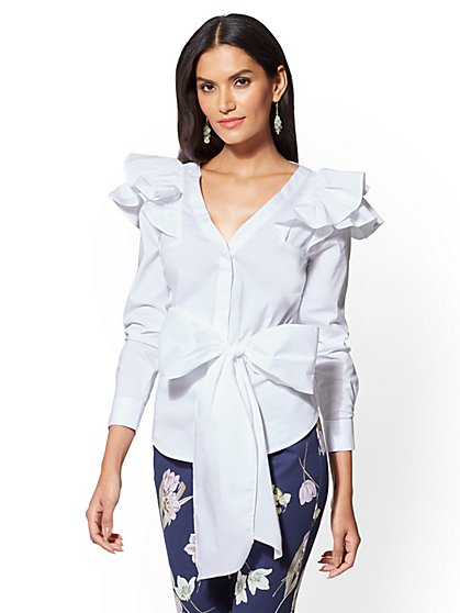 Ruffled Tie-Front Shirt - White - New York & Company