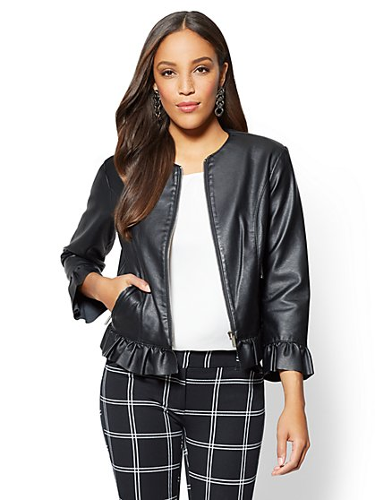 Ruffled-Trim Faux-Leather Moto Jacket - New York & Company