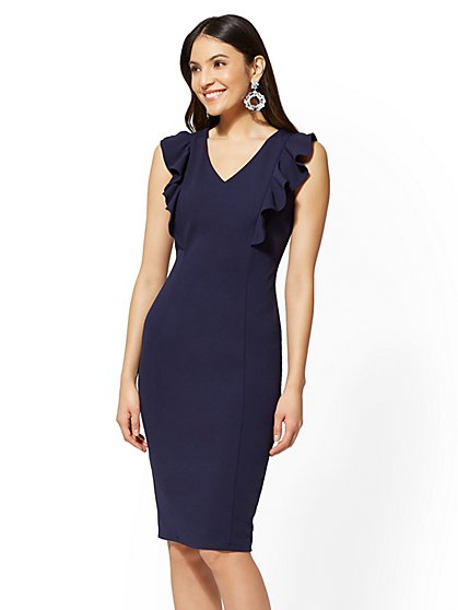 Ruffled V-Neck Sheath Dress - New York & Company