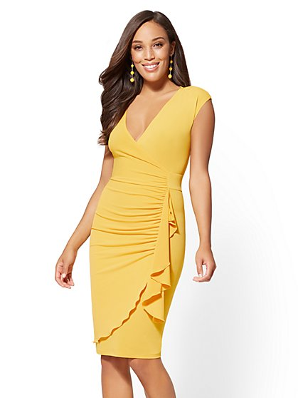 Ruffled Wrap Sheath Dress - New York & Company
