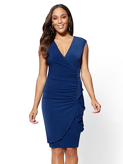 Ruffled Wrap Sheath Dress - New York & Company