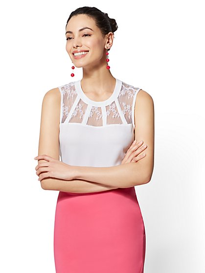 Scoopneck Lace-Panel Top - New York & Company