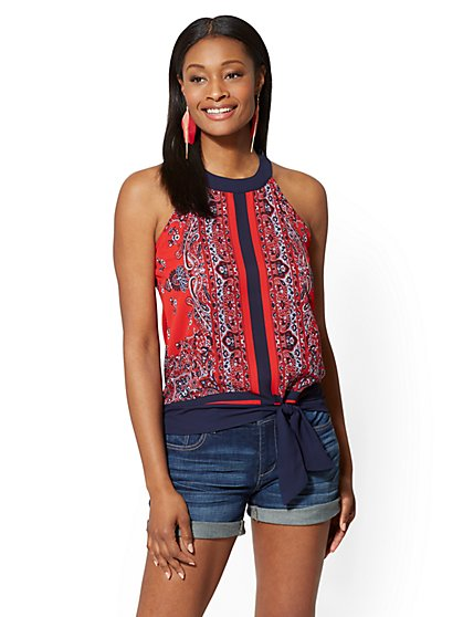 Scroll-Print Tie-Waist Halter Blouse - New York & Company
