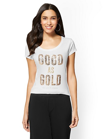 """Sequin """"Good As Gold"""" Graphic Logo Tee - New York & Company"""