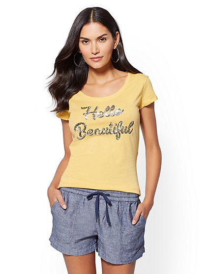 "Sequin ""Hello Beautiful"" Graphic Logo Tee - New York & Company"