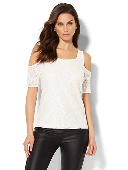 Sequin & Lace Overlay Cold-Shoulder Top - New York & Company