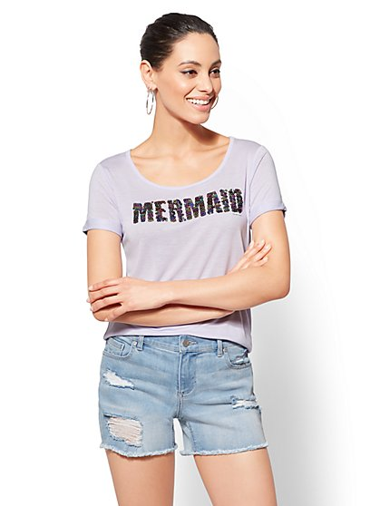 "Sequin ""Mermaid"" Graphic Logo Tee - New York & Company"