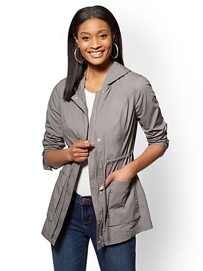 "Sequin ""New York Love"" Grey Hooded Anorak Jacket - New York & Company"