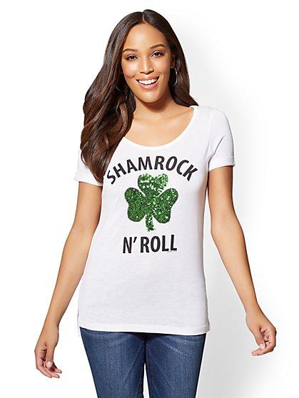 Sequin Shamrock Graphic Logo Tee - New York & Company