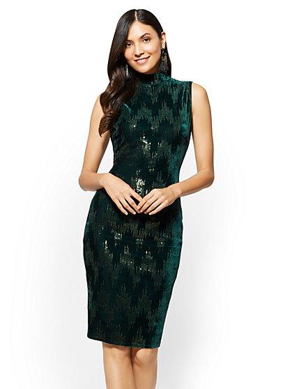 Sequin Velvet Shift Dress - New York & Company