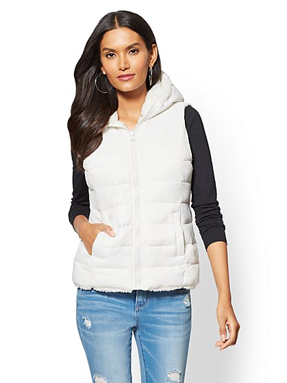 Sherpa-Lined Hooded Vest - New York & Company