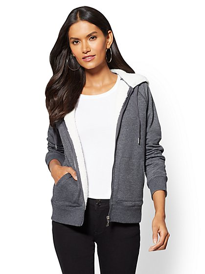 Sherpa-Lined Zip-Front Hooded Jacket - New York & Company