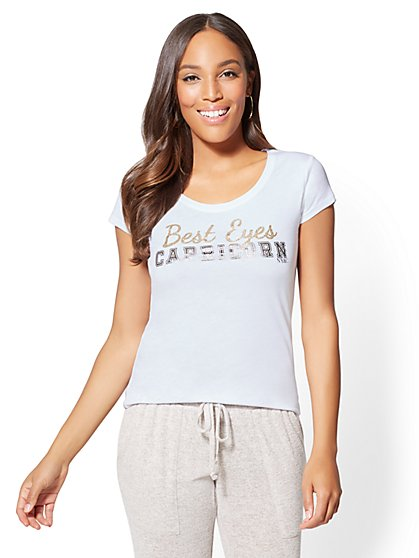 "Shimmering ""Best Eyes - Capricorn"" Graphic Logo Tee - New York & Company"