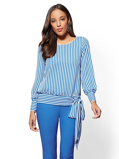 Side-Tie Scoopneck Blouse - Stripe - New York & Company