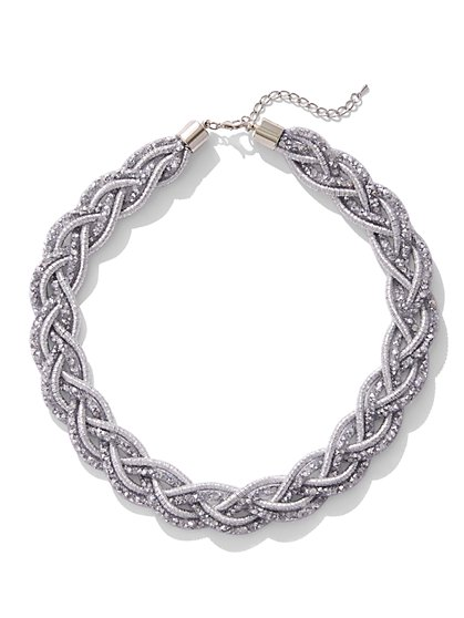 Silvertone Braided Mesh Necklace - New York & Company