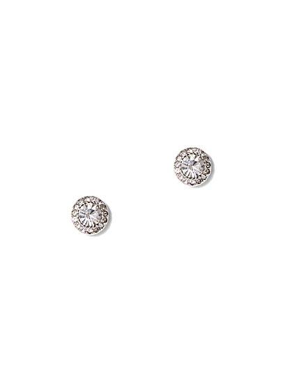 Silvertone Cubic Zirconia Post Earring - New York & Company