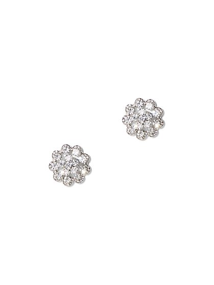Silvertone Floral Post Earring - New York & Company