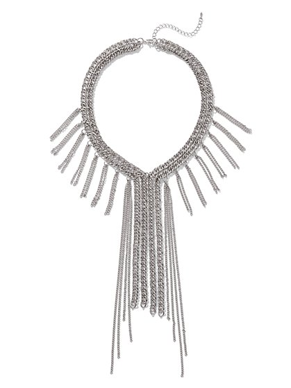 Silvertone Fringe Chain-Link Necklace - New York & Company