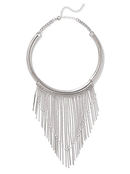 Silvertone Fringe Collar Necklace - New York & Company