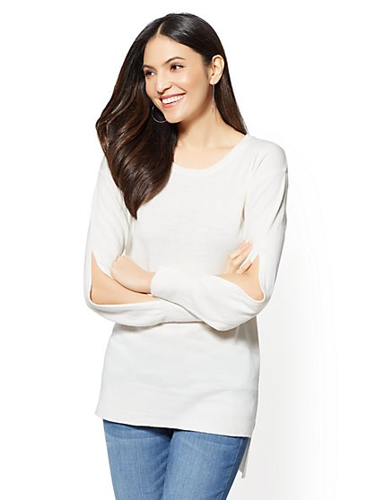 Slit-Detail Hi-Lo Tunic Sweater - New York & Company