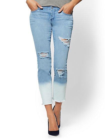 Soho Jeans - Bleached-Hem Ankle Legging - Blue Happy Wash - New York & Company