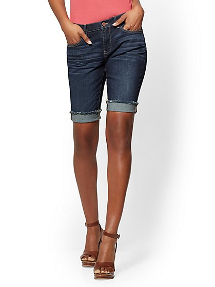 Soho Jeans - Bowery Boyfriend 11 Inch Bermuda - Deep End Blue - New York & Company